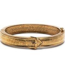 christian dior 1990s pre-owned belt motif bangle bracelet - gold