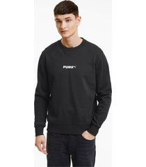 avenir graphic crew neck sweater voor heren, zwart/aucun, maat xl | puma