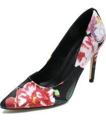 zapato tacón alto color negro/flores paris hilton p25-a