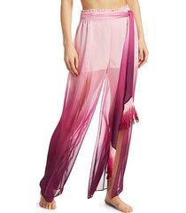 jonathan simkhai women's ombre wide-leg pants - magenta ombre - size m
