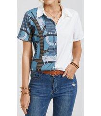 camicetta con risvolto a maniche corte con bottoni a maniche corte con stampa animalier da donna