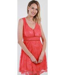 vestido de encaje lisa coral night concept