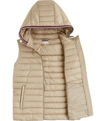 chaleco th essential packable beige tommy hilfiger
