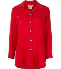 hermès logo single-breasted long sleeve shirt - red