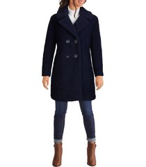 women's kenneth cole new york notch collar curly faux shearling coat, size small - blue
