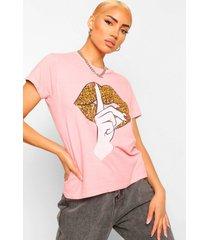 gebleekt luipaardprint t-shirt met lippen, terracotta
