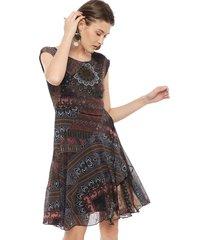vestido desigual largo multicolor - calce ajustado