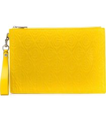 gucci logo-embossed clutch - yellow