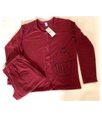 pijama feminino aberto blusa manga longa e calça
