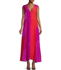 colorblock patchwork silk gown