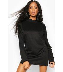 oversized hooded sweat dress, black