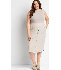 maurices plus size womens linen button front midi skirt white