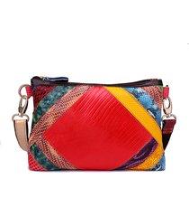 donna vera pelle borsa a tracolla in vernice borsa patchwork spalla borsa