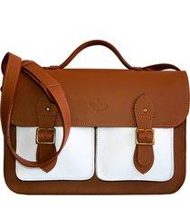bolsa line store leather satchel pockets grande couro bicolor savannah premium x branco