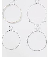 river island womens silver mega rhinestone layered necklace