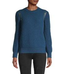 salvatore ferragamo women's leather-trim cashmere-blend sweater - blue - size m