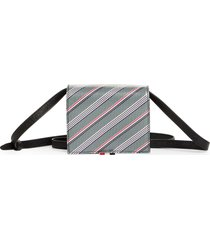 thom browne stripe coated canvas crossbody card holder in med grey at nordstrom