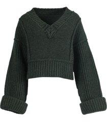 dark green wool la maille cavaou knit sweater