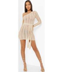 gehaakte asymmetrische glitter mini jurk, gold