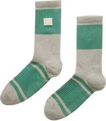 grey and green ribbed socks