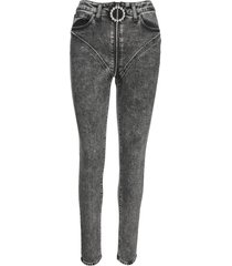 alessandra rich grey crystal-embellished skinny jeans
