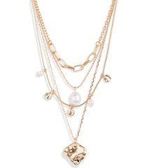 women's halogen imitation pearl & metal droplet layered necklace
