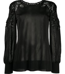 alberta ferretti lace-panelled jersey top - black