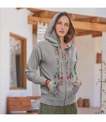 sundance catalog women's fay embroidered hoodie in heather gray medium