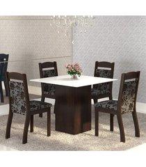 mesa de jantar 4 lugares brilho ameixa/cobre/branco - mobilarte móveis