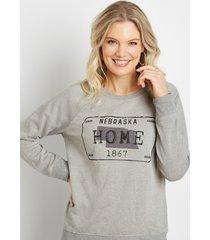 maurices womens gray nebraska crew neck sweatshirt