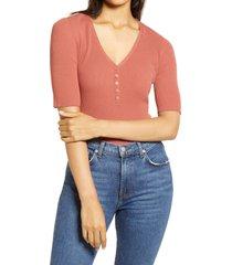 women's halogen rib henley sweater, size large - brown