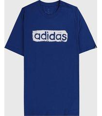 camiseta azul royal-blanco adidas performance fitness graphique