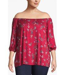 lane bryant women's floral 3/4-sleeve off-the-shoulder swing tee 14/16 fiesta peonies