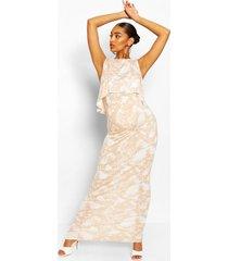 positiekleding. tie-dye maxi-jurk voor borstvoeding, nude