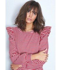 bluza z falbankami w czerwone paski