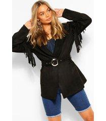 fringe belted suedette jacket, black