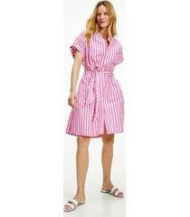 tommy hilfiger women's organic cotton stripe shirt dress banker stripe / hot magenta - 12