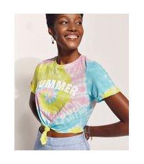 blusa feminina hype beachwear cropped estampada tie dye com nó manga curta decote redondo multicor