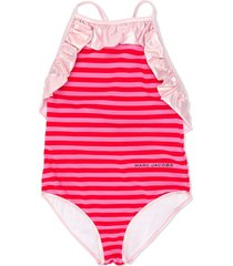 little marc jacobs crisscross back ruffled trim swimsuit - red