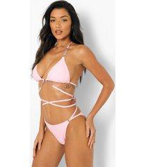 bikini broekje met bandjes en taille detail, pink