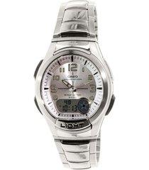 reloj casio aq_180wd_7bv plateado acero inoxidable