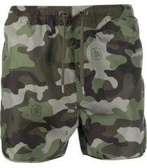 neil barrett camouflage pattern swim shorts - green