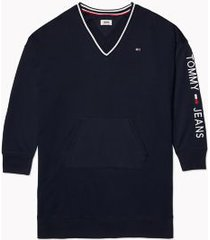 tommy hilfiger women's v-neck sweatshirt dress sky captain - xxs