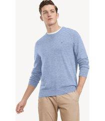 tommy hilfiger men's essential crewneck sweater light heather blue - s