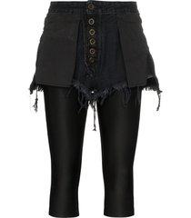 unravel project reverse short stretch cotton leggings - black