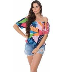 blusa zipituka com elastico cintura 915 estampa geometrica - estampado - u - feminino