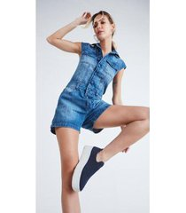 macacão jeans zait amora - feminino