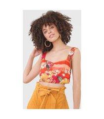top dress to floral laranja/verde