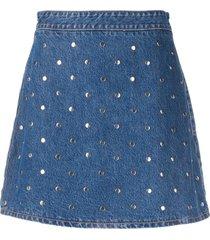 ganni studded denim skirt - blue