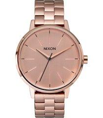 nixon 'the kensington' round bracelet watch, 37mm in rose gold at nordstrom